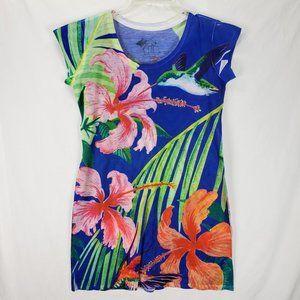 Guy Harvey Hibiscus Bloom Hummingbird Dress Small